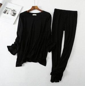 Image 3 - Pyjama à manches longues, confortable, pantalon en coton pour femme, ensemble vêtements de maison automne hiver, collection décontracté