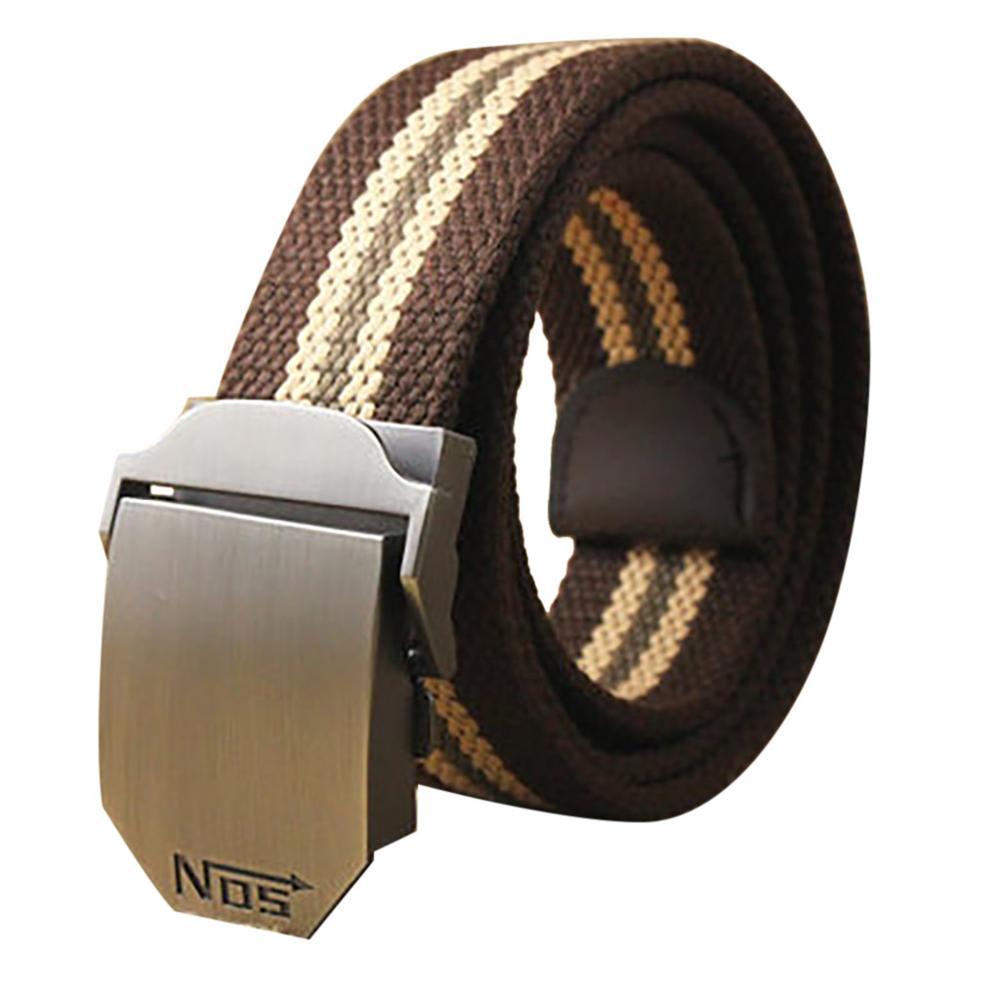 Unisex Tactical Belt 130cm Casual Canvas Belt Outdoor Alloy Automatic Buckle Men Belt High Quality Casual Belt Waistband W-3.8cm