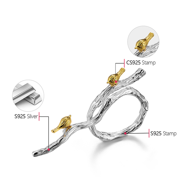 Lotus Fun Real 925 Sterling Silver Original Handmade Fine Jewelry Adjustable Ring 18K Gold Bird on Branch Rings for Women Bijoux 4
