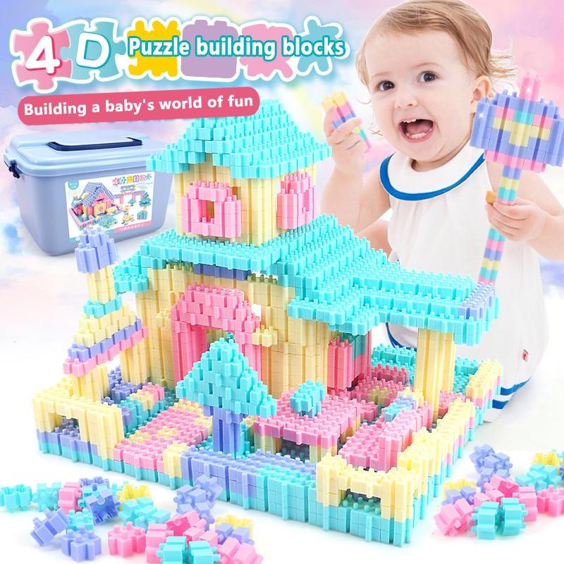 450PCS Fun Enigma Blocos De Construção Da Cidade Castelo Casa Criativo DIY Tijolos Bloco Figuras Modelo Brinquedos Educativos Para Crianças Presentes