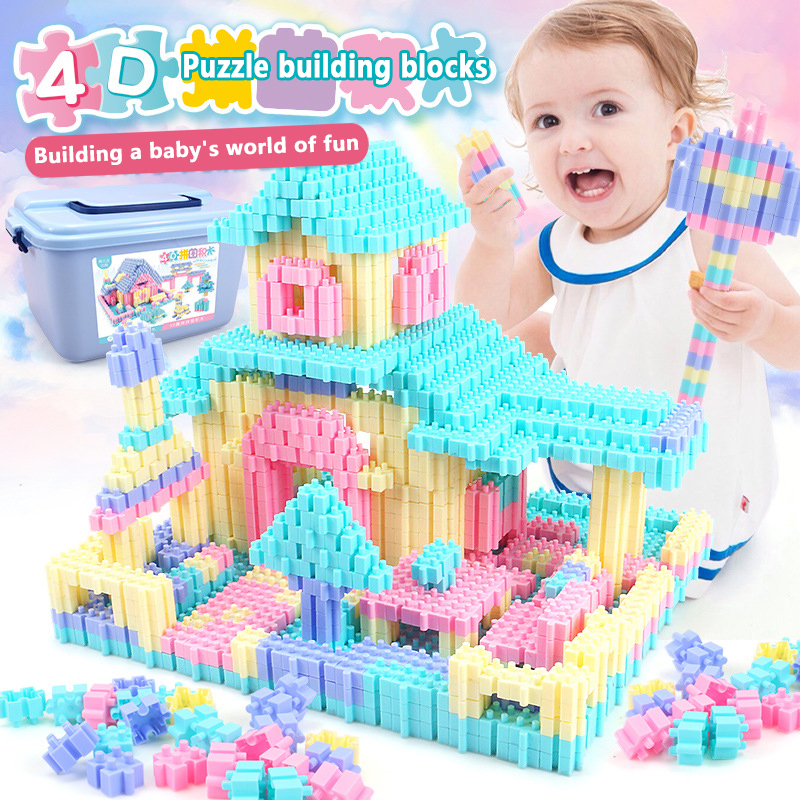450PCS Fun Puzzle Building Blocks City Castle House DIY Creative Bricks Block Model Figures Educational Toys For Children Gifts