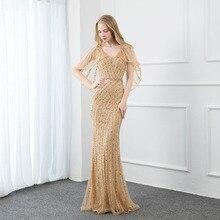 جديد أنيق الذهب الأحجار مساء فستان طويل رسمي النساء فساتين رداء حفلات السهرة مع شال تول