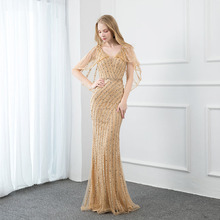 Nowe eleganckie złote kamienie suknia wieczorowa długie formalne sukienki damskie suknie wieczorowe z tiulowym szalem