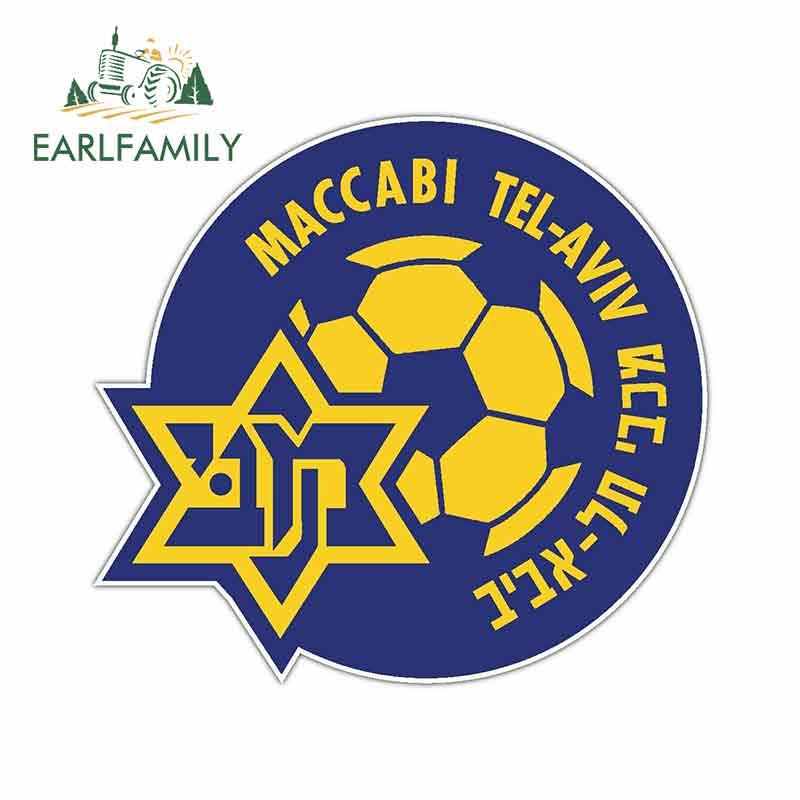 EARLFAMILY 13cm X 12.1cm For Maccabi Tel Aviv Fc Israel Vinyl Decal Sticker Car Assessoires Hip Hop GTR Decoration Car Stickers