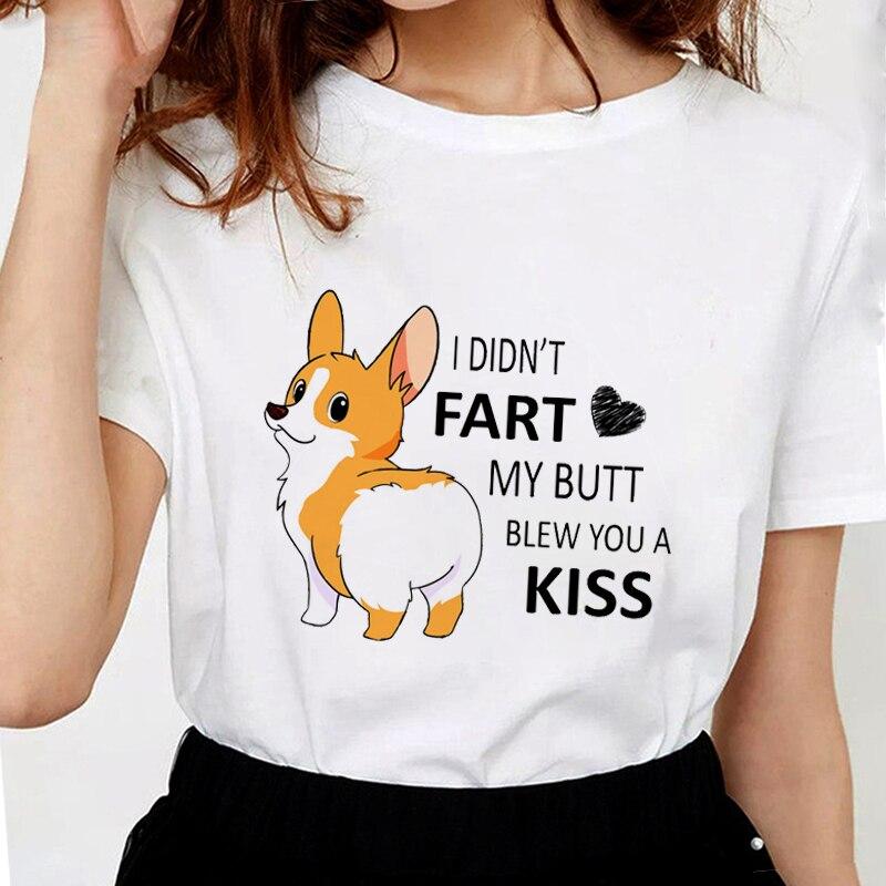 Lus Los 3D Funny Cute Corgi Butt Pet Dog T-Shirt Soft Women T Shirts Tops Graphic Tees Female White Tshirt