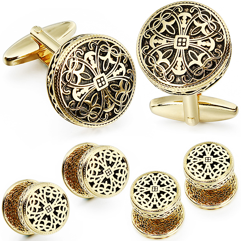 Image 3 - HAWSON Vintage Cufflinks and Tuxedo Shirt Studs for Men Retro Flower Pattern   Best Wedding Business Gifts for Men with Box-in Tie Clips & Cufflinks from Jewelry & Accessories