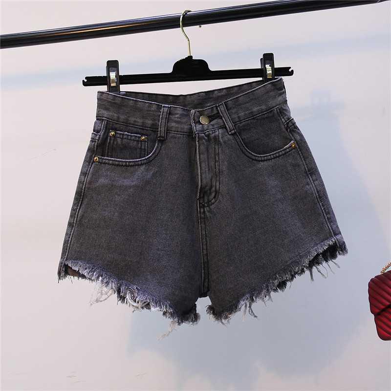Gkfnmt Womens Fashion Shorts Summer High Waisted Denim Shorts Jeans Women Short New Femme Skinny Slim Denim Tassel Shorts Gray