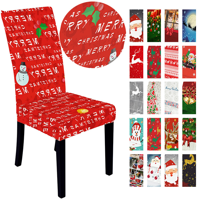 Christmas Decoration Spandex Chair Cover  Dining Room Stretch Chair Covers  Wedding Chair Slipcover Printed Pattern Hotel 1