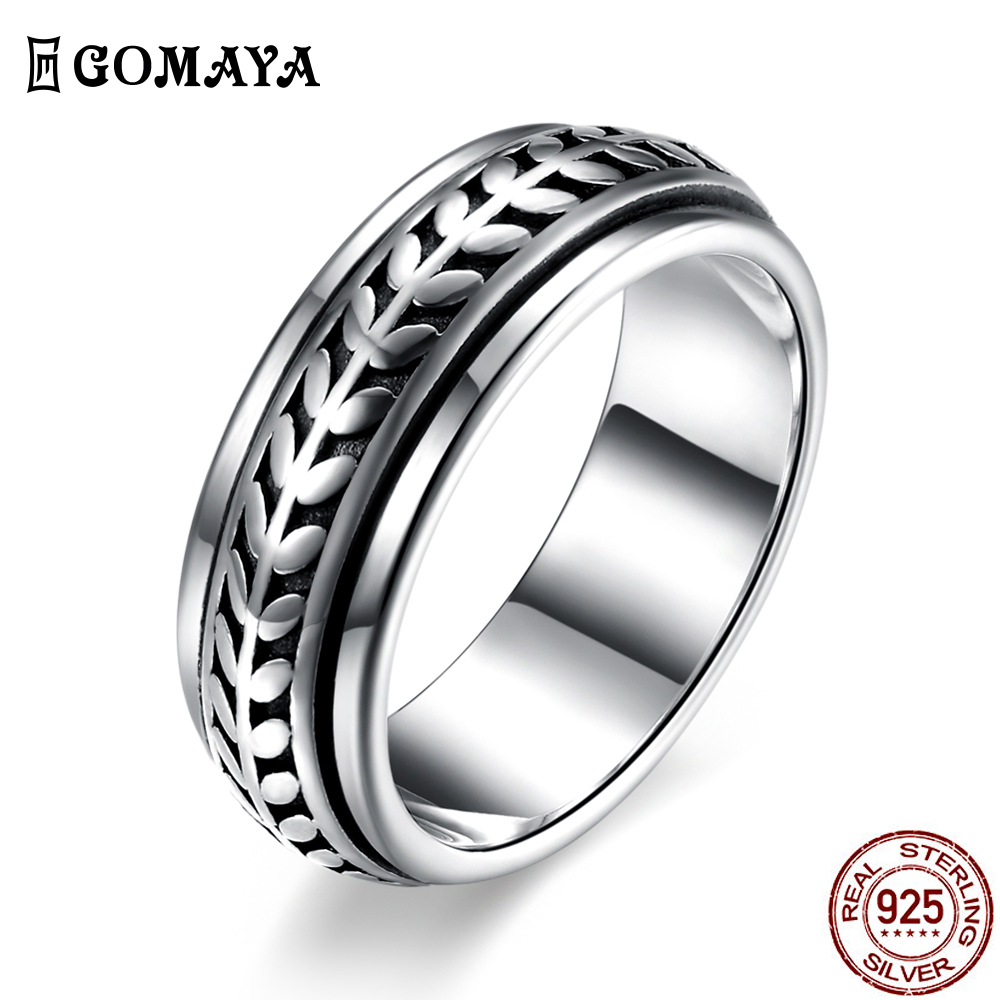 GOMAYA Vintage Street dance Rock Punk Cocktail <font><b>Rings</b></font> Cool Gothic <font><b>925</b></font> <font><b>Sterling</b></font> <font><b>Silver</b></font> Unisex Party Jewelry <font><b>for</b></font> Women and <font><b>Men</b></font> image