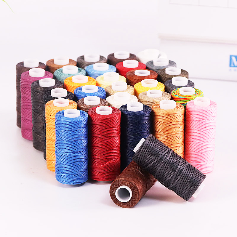 50M 150D 1mm Flat Waxed Sewing Line Thickness Waxed Thread For Leather Waxed Cord For Leather Craft Hand Stitching Thread