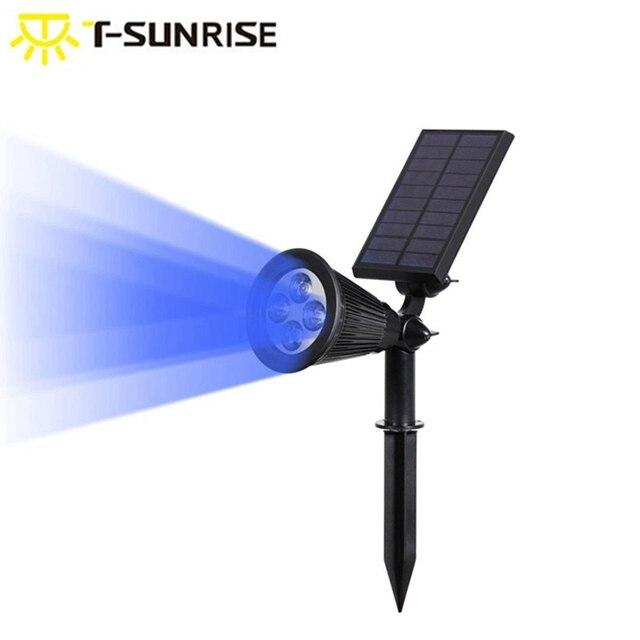 T SUNRISE שמש זרקור חיצוני נוף אורות עמיד למים אבטחת גן מנורת מתכוונן עבור פאטיו חצר גן כחול צבע