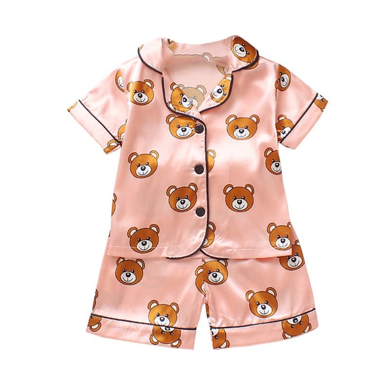 Kids Pajamas Set Silk Women Men Pajamas Boys Girls Bear Print Pyjamas Short Sleeve Blouse Tops+Shorts underwear & sleepwears 1