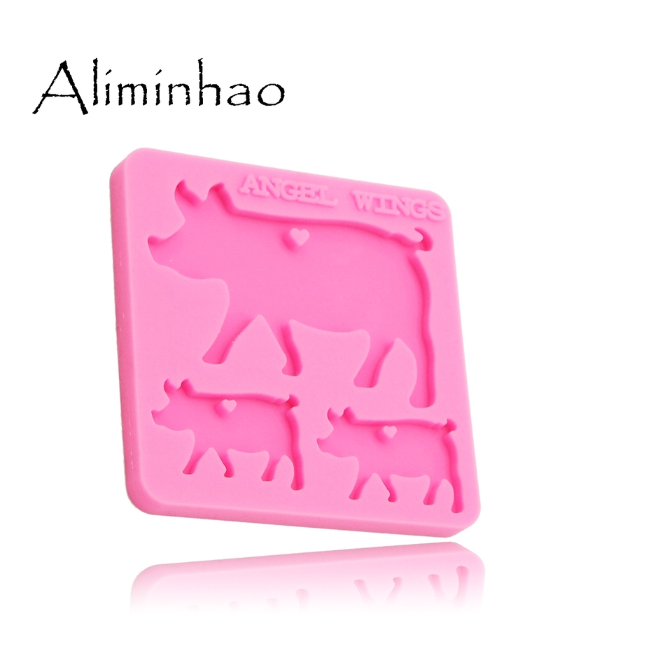 Golden Retriever Family Keychain Silicone Mold,Silicone Resin Molds