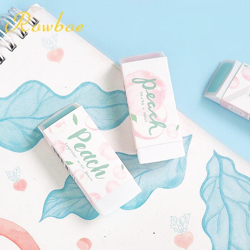 ROWBOE Cute Stationery Music Peach Eraser Children's Skin Without Debris Stationery Simple Art Kawaii Supplies