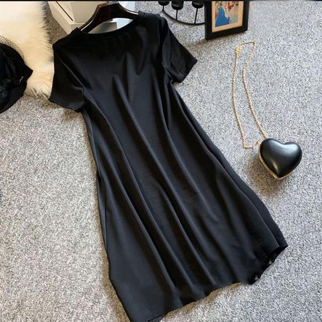 Casual Long Dress Short Sleeves Loose Vintage Spliced Floral Pattern  3