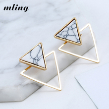 New Earrings Fashion Simple Stud Personality Trend Push-back Triangle Wholesale Jewelry Womens