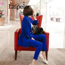 2019 New Fashion Blue Suit Office Lady Two Piece Sets Korean