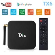 Tanix caixa de tv smart tx6, android 9.0,4gb 64gb 5.8g wifi allwinner h6 quad core usb 3.0 bt4.2 4k media google player youtube