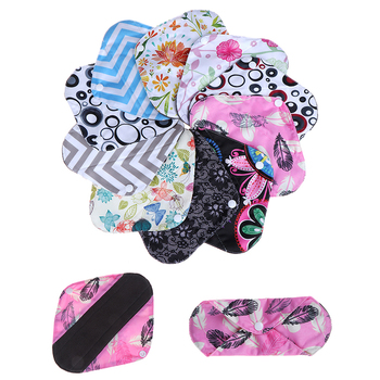 1Pc Organic Bamboo Inner Mama Pads Pantyliner For Light Flow Days 20*18cm, Women Reusable Cloth Menstrual Pads With Wings image