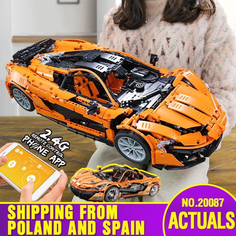 From Spain DHL 20087 Technic Car The MOC-16915 McLaren P1 Motor Function Car Set Building Blocks Bricks App RC Kid Christmas Toy
