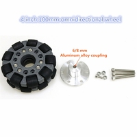 100mm 4 Inch Omnidirectional Wheel with Aluminum Alloy Coupiling for Robot Competition/DIY Robot Study
