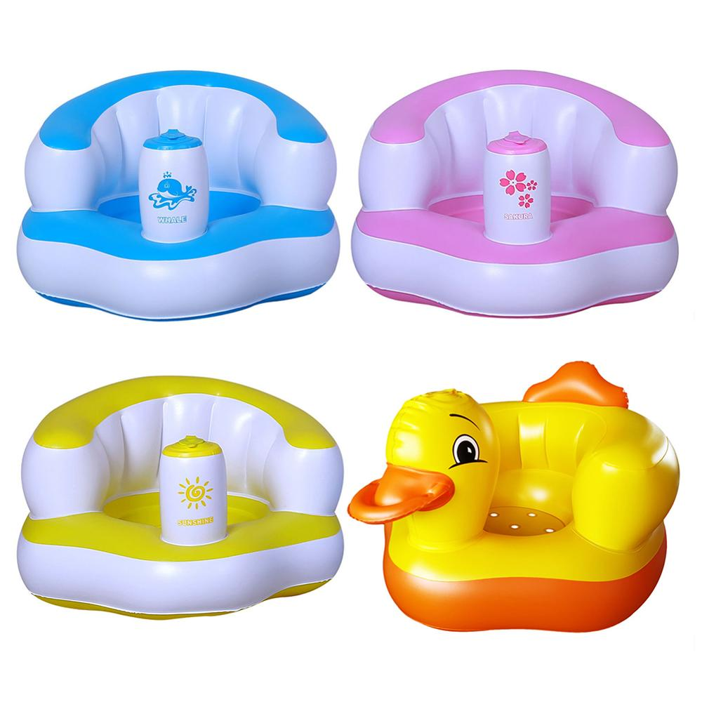 Kids Baby Seat Inflatable Chair Sofa Bath Seats Dining Pushchair Pink Green PVC Infant Portable Play Game Mat Sofas Learn Stool