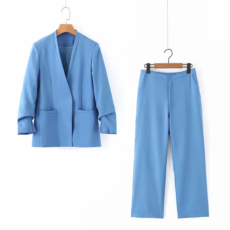Women's Suits Pants Suit 2019 New Autumn Casual Solid Color Long-sleeved Ladies Blazer Fashion Office Trousers Two-piece