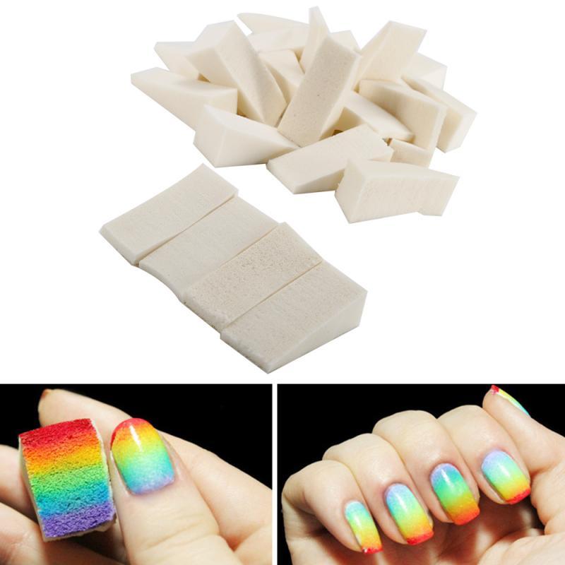 Градиент для ногтей, блестящая Радужная мягкая треугольная губка для ногтевого дизайна, штамп для стемпинга, картина, пенопласт, инструмент...