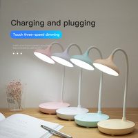 Lámpara de mesa Flexible con atenuación táctil, luz de lectura de cabecera con USB, Flexo