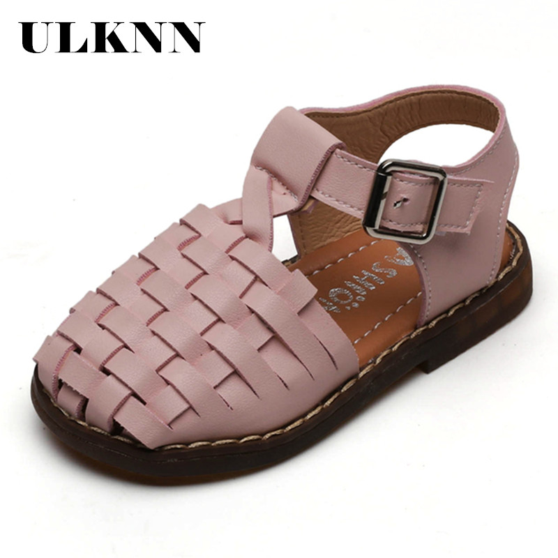 ULKNN Summer Kids Shoes Good Quality Closed Toes Toddler Girls Sandals Orthopedic Sports Pu Leather Baby Children Girls Shoes