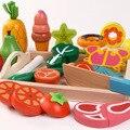 Holz Küche Pretend Spielen Spielzeug Schneiden Obst Gemüse Fleisch Desserts Set Magnetische Simulation Lebensmittel Educational Kinder Spielzeug Geschenke