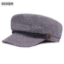 SILOQIN Autumn Winter Elegant Woman Fashion Keep Warm Military Hats Trend Mens Flat Cap Unisex Leisure Tourism Brand Hat Gorras