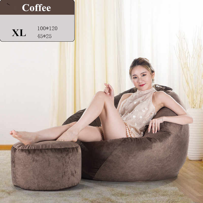 One Set Bean Bag Sofa Cover No Filler Lazy Leisure Beanbag Chair Single Living Room Sofa Bed Puff Pouf Couch Sofa Velvet Bench