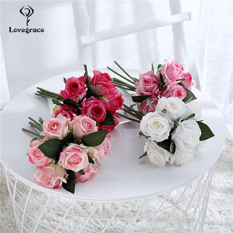 7 Heads Artificial Silk Rose Wedding Flower Bouquet Imitation Roses Bundle For Home Table Vase DIY Decoration Silk Roses Flowers