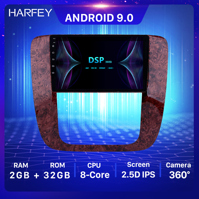 "Harfey 9 ""android 9.0 gps carro navi rádio 2din para 2007 2012 gmc yukon/acadia/tahoe chevy chevrolet tahoe/suburban buick enclave"