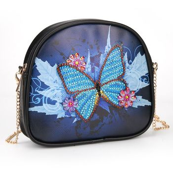 DIY Special Shaped Blue Butterfly Diamond Painting Wristlet Wallet Diamond Painting Embroidery Cross Stitch Wallet For Gift фото