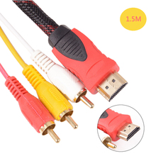 1.5M Conversion Converter HDMI to RCA Cable HDMI Male to 3 RCA AV Male AV Composite Male M/M Connector Adapter Cable Cord