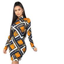 2019 осеннее платье с длинными рукавами цепью принтом для ночного
