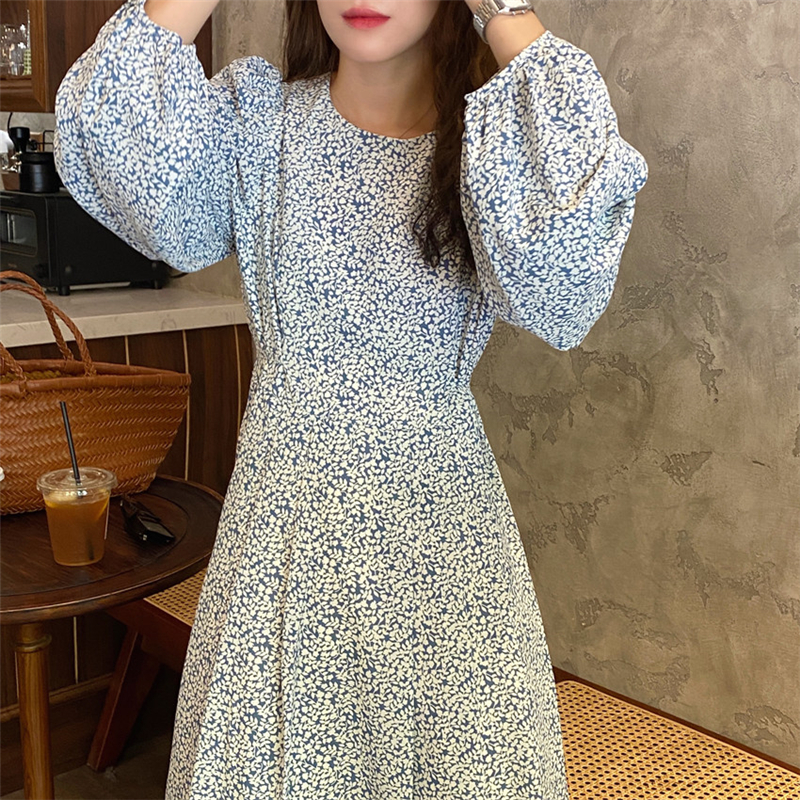 H0252fbe1bc604b629e0827dee909a279u - Autumn O-Neck Lantern Long Sleeves Floral Print Midi Dress
