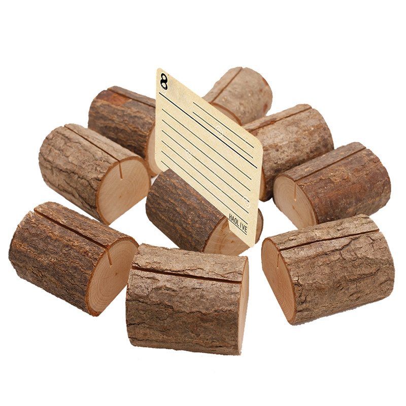 1pcs/lot New Big Natural Wood  Wood Stump Wedding Party Decoration Card Holder Stand Card Photo Holder Clips