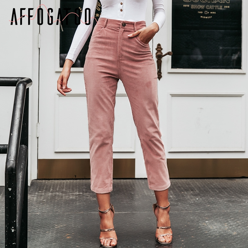 Affogatoo Casual Fashion Women Ninth Pants Vintage High Waist Corduroy Pencil Pants Autumn Winter Streetwear Female Pink Pants