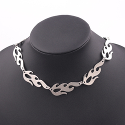 Fashion Unisex Punk Pendant Necklace Fire Hiphop Adjustable Necklace Accessory Metal Rock Chain Choker Fashion Jewelry 2020