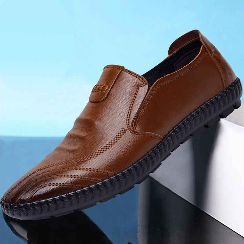 2019 Autumn New Style Leather Shoes MEN'S Casual Shoes Soft Bottom Breathable Moccosins Men's Slip-on Lazy Fashion Small Leather