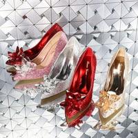Cinderella Glass Pointed High Heels Crystal Silver Bottom Women Pumps Rhinestones Flowers Wedding Shoes Woman Ladies Bridal Shoe
