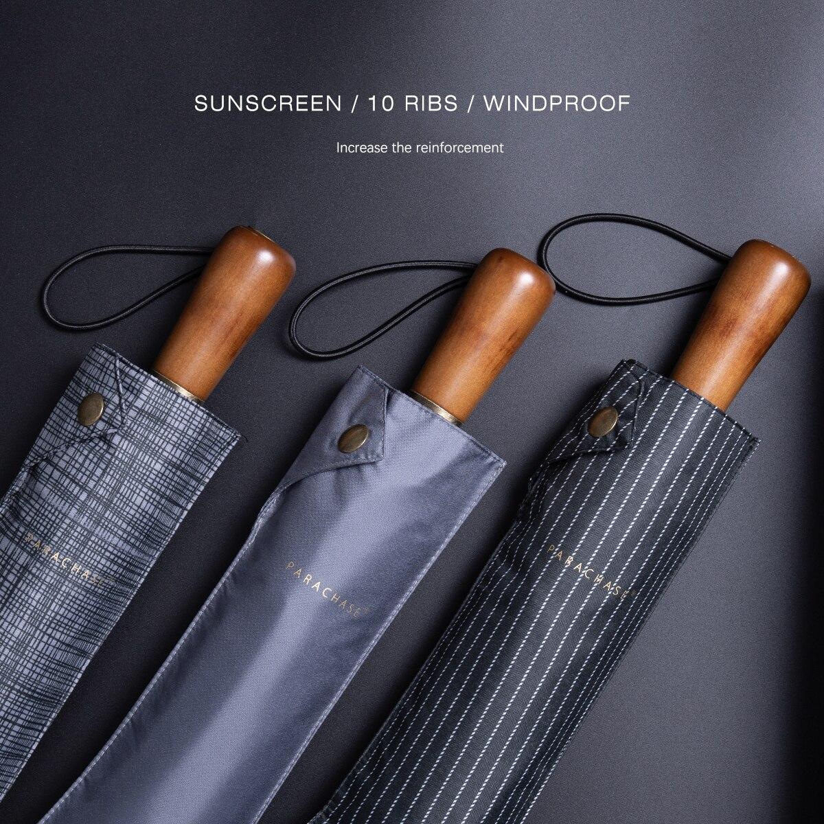Parachase Anti UV Folding Umbrella Men Business 10 Ribs Sun Umbrella Rain Women Windproof Golf Big Umbrella Clear Brand Parasol