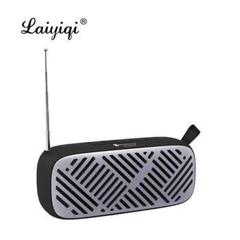 Laiyiqi-Altavoces bluetooth con antena, radio FM, cinturón de cuero portátil, USB, llamada...