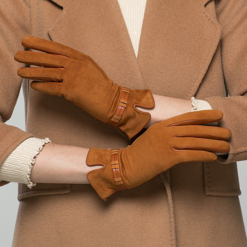 Real Leather Gloves Female Plus Velvet Keep Warm Suede Matte leather Woman's Goatskin Gloves For Driving K96