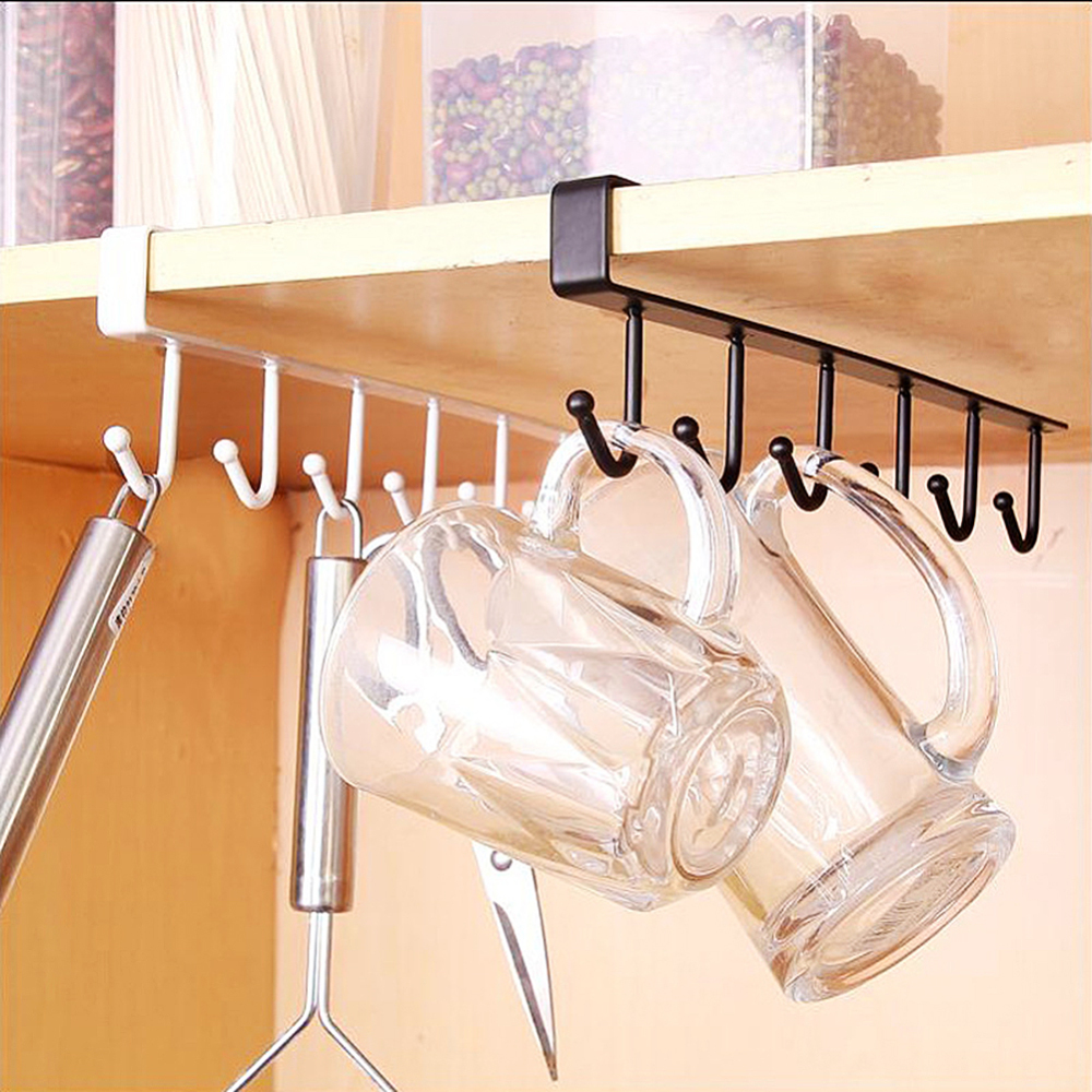 Black And White Multifunction Nail Free Hook Mug Holder Under Shelf Mug Hooks Rack Hanger Coffee Cup Holder For Kitchen