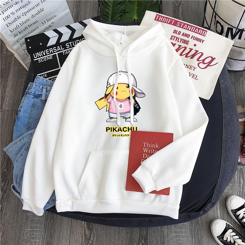 Cartoon Pokemon Pikachu Print Man Hoody Winter Plus Cashmere Warm Oversized Clothes 2020 Fall Hot Sale Anime Harajuku Sweatshirt