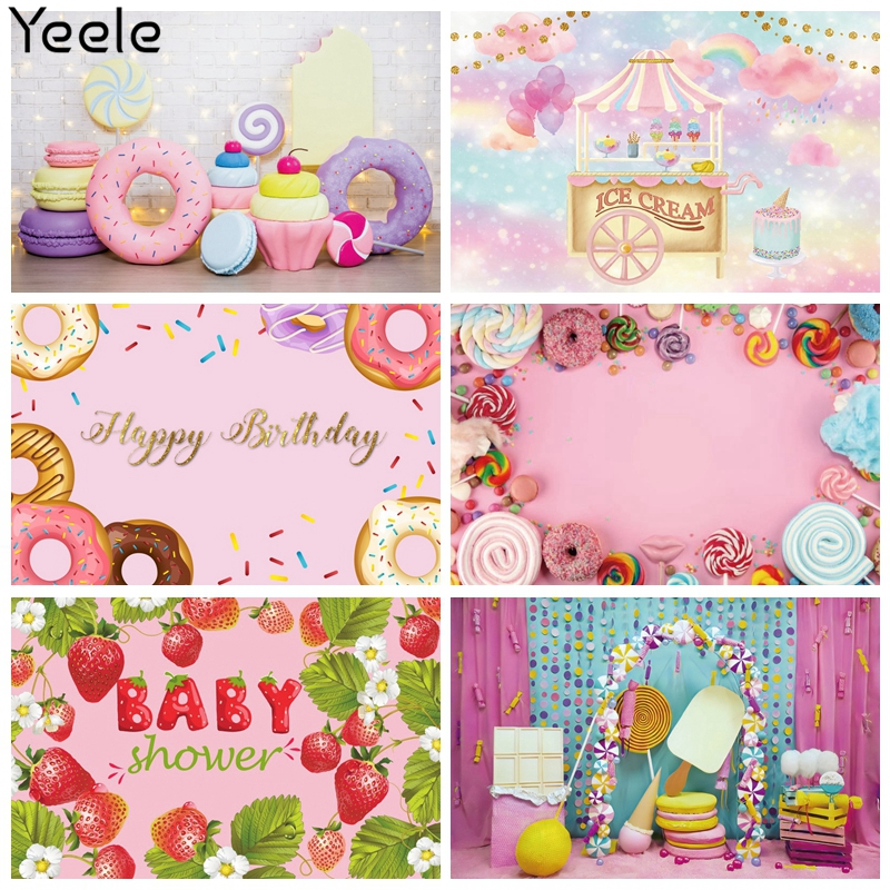 Фон для фотосъемки Yeele с изображением конфет бара леденцов пончиков на день рождения детский душ фон для фотосъемки для фотостудии